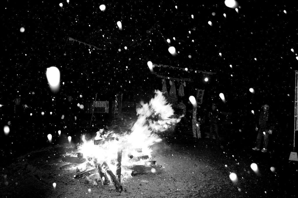 雪と焚き火