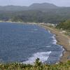 送毛峠から見下す浜益海浜公園