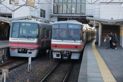 名鉄電車と外国人観光客