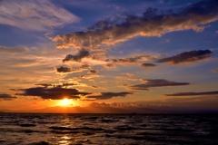 秋夕の琵琶湖