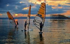 夕凪のウインドサーフィン