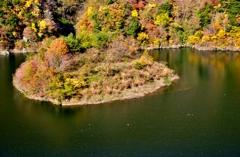 白龍湖の紅葉島