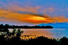 湖北の夕景を見る