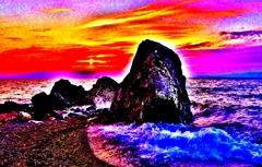 夕景の烏帽子岩ビビットカラーワールド