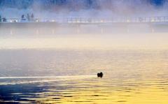 夜明けの余呉湖景象