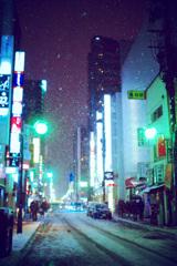 夜の街に降る雪