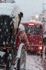 京都 雪の人力車