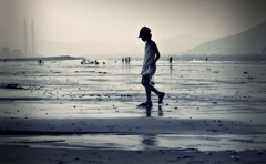 Ebb tide seashore