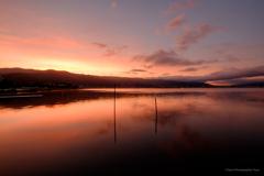 朝焼け 諏訪湖