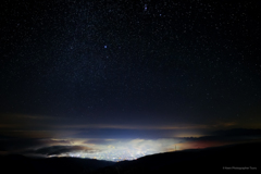 高ボッチからの夜景と星空