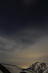 富山の夜景と星