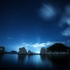浄土ヶ浜の漁火光柱