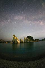 浄土ヶ浜と天の川と夜光虫