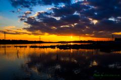 雲下の夕陽..
