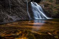 滝壺の落葉渦 2015