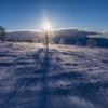 朝日に輝く霧氷