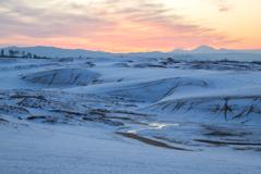 遥かなる大山と夕焼け