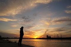 淀川の夕暮れ