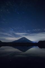 精進湖での富士山と星
