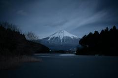 凍る湖と富士