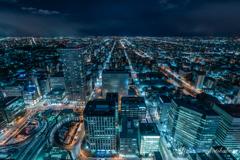 snow night city