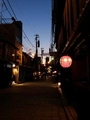 京都 花街の夕焼け