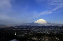 県道401号線からの富士山と御殿場市街地