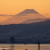 朝焼け富士と諏訪湖