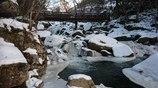 厳冬の山鶏滝