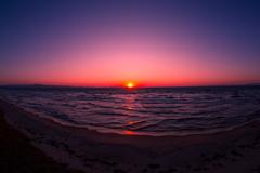 むつ湾の夕陽