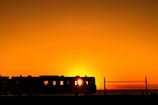 車窓の夕陽