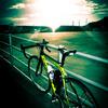 早朝港へバイク