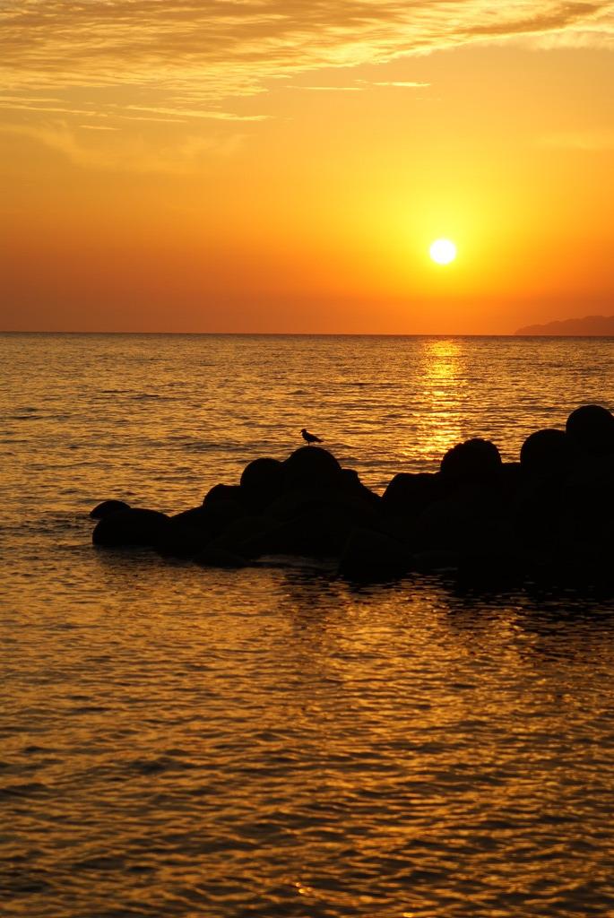 笹川流れの夕日