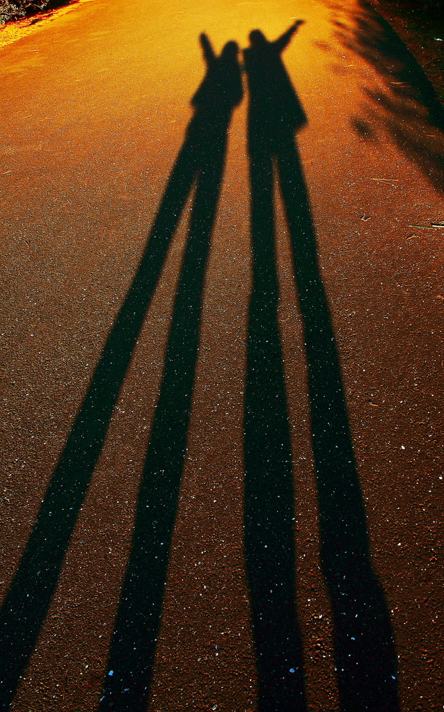 夕日の影、足ながーい!