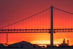 夕染の瀬戸大橋
