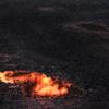 夕焼け溶岩だまり