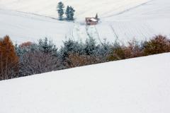 初雪 赤い屋根の家