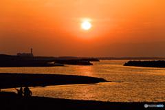 黄金色の夕陽
