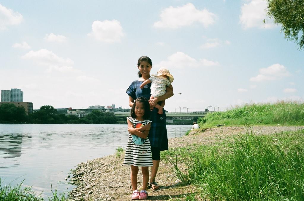 多摩川のほとりにて