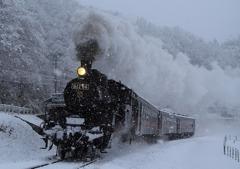 雪の真岡鉄道SL