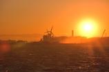 夕陽に染まる東京湾