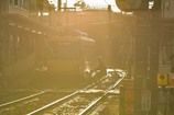 夕陽に染まる駅