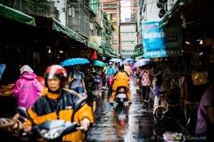 台北市大同區 雨の市場