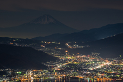 諏訪の夜景と富士
