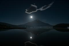 満月と富士(山中湖)