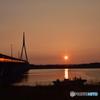 周防大橋と夕陽