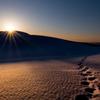 夕色に染まる雪の鳥取砂丘*1