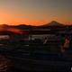 漁港の日没
