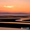 夕焼けに染まる真玉海岸