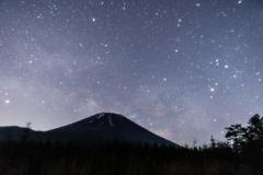 富士山にかかる天の川
